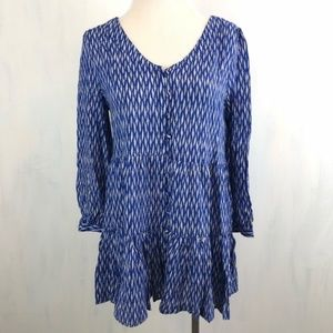 Anthro Maeve Lila Tiered Tunic Blue Pattern XS 293